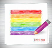 彩虹条纹被画的铅笔 LGBT旗子,标志同性恋者文化 库存图片