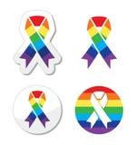 彩虹标志丝带-同性恋自豪日和技术支持的符号GLBT社区 免版税库存图片