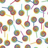 彩虹棒棒糖转动白色无缝的样式 皇族释放例证