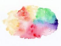 彩虹水彩在白色背景的油漆污点 库存例证