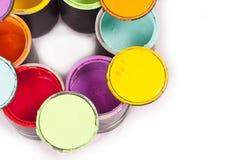 彩虹油漆播种的三原色圆形图 免版税库存图片