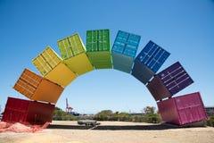 彩虹海容器雕塑 图库摄影