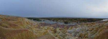 彩虹海滩全景在新疆中国 免版税图库摄影