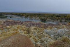 彩虹海滩惊人的风景在新疆中国 免版税库存图片