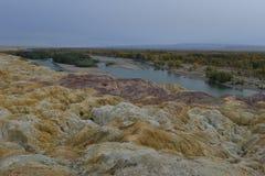 彩虹海滩惊人的风景在新疆中国 库存图片
