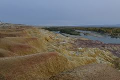 彩虹海滩惊人的风景在新疆中国 图库摄影