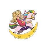 彩虹独角兽 在一个摇马的女孩骑马 使用与不可思议的鞭子玩具的愉快的孩子 免版税库存图片