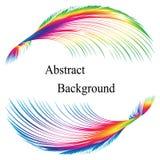 彩虹用羽毛装饰与文本的样式在中心 抽象背景 标签的,横幅,徽章,海报,贴纸模板 库存照片