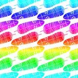 彩虹用羽毛装饰无缝的样式背景 库存图片