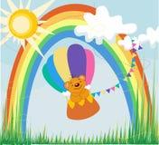彩虹由地方眼睛气球的一头熊 库存照片