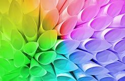 彩虹管变化,纸圆锥堆, 免版税图库摄影