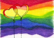 彩虹背景气球 库存照片