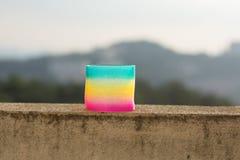 彩虹色的导线螺旋玩具 免版税库存照片