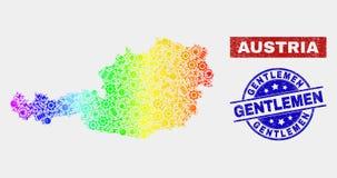 彩虹色的工厂奥地利地图和被抓的先生们水印 库存例证
