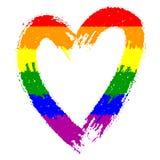 彩虹色的杂文心脏传染媒介剪影  库存例证