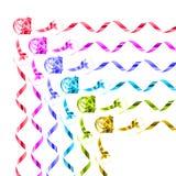 彩虹色的礼物丝带的汇集 库存图片