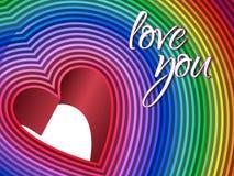 彩虹色的3d心脏例证 向量例证