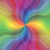 彩虹透明波浪条纹样式 跑从中心的扩展条纹 抽象花 免版税库存图片