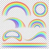 彩虹集合传染媒介 另外形状收藏 在透明背景隔绝的现实彩虹集合 库存例证