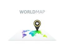 彩虹颜色世界地图 免版税库存照片