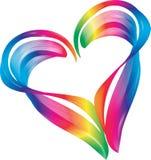 彩虹颜色心脏形状标志 向量例证