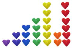 彩虹颜色心脏的专栏 库存照片