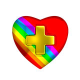 彩虹颜色心脏医疗金十字架标志 库存照片