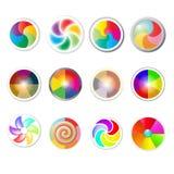 彩虹颜色网按钮集合 免版税图库摄影