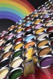 彩虹颜色,开放罐头油漆 免版税图库摄影