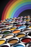 彩虹颜色,开放罐头油漆 库存照片