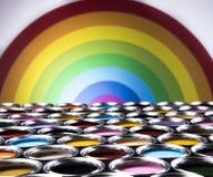 彩虹颜色,开放罐头油漆 图库摄影