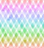 彩虹颜色V形臂章在白色背景的 织品的水彩无缝的样式 免版税库存图片