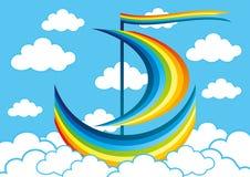 彩虹风船在云彩漂浮 免版税库存图片