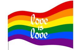 彩虹飞行旗子是自豪感lgbt的标志,并且lgbtq以文本爱是爱 快乐女同性恋的变性彩虹波浪 皇族释放例证