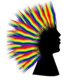 彩虹头发妇女 库存图片