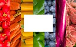 彩虹水果和蔬菜拼贴画 免版税库存照片