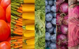彩虹水果和蔬菜拼贴画 免版税图库摄影