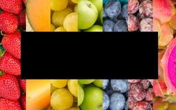 彩虹水果和蔬菜拼贴画 免版税库存图片