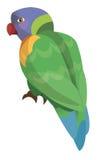 -彩虹lorikeet -被隔绝的动画片鹦鹉 免版税库存图片