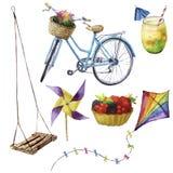 水彩被设置的夏天乐趣 手画暑假对象:摇摆,鸡尾酒, kait,果子蛋糕,自行车和 免版税库存照片