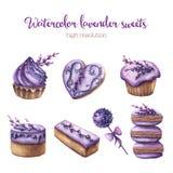 水彩被设置的淡紫色甜点 库存照片