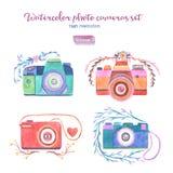水彩被设置的照片照相机 免版税库存图片