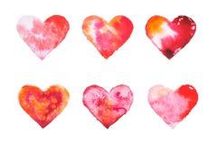 水彩被绘的红色心脏手拉的例证 免版税库存图片