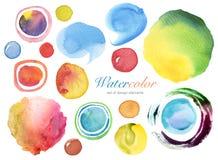 水彩被绘的设计元素背景的汇集 免版税库存照片
