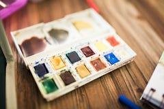 水彩调色板 免版税库存图片
