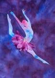 水彩跳芭蕾舞者的例证剪影 向量例证