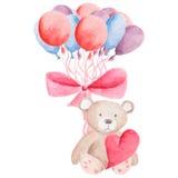 水彩迅速增加贺卡模板,海报,包装纸 礼物和礼物,心脏,浪漫元素 免版税库存图片