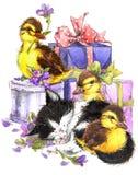 水彩逗人喜爱的猫和一点鸟、礼物和花背景 库存照片
