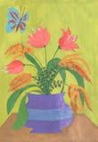 水彩郁金香和mymosa在花瓶 免版税库存图片