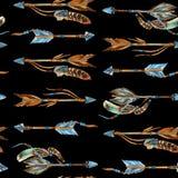 水彩部族箭头无缝的样式 免版税图库摄影